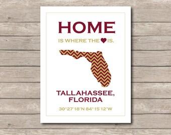FSU Seminoles Printable, Seminole Art Print, Tallahassee Florida