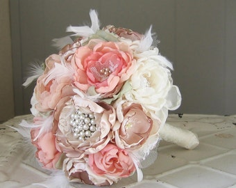 Fabric flower brooch wedding bouquet . Custom colors . Vintage couture look with peony rose and feathers