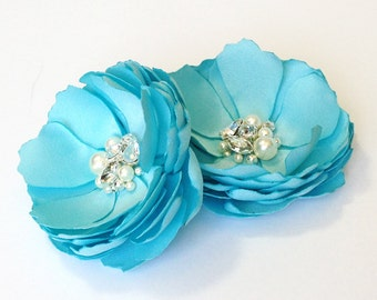 Light Blue Flower Hair Clip, Shoe Clip, Brooch Pin in Wedding for Bride, Bridesmaid, Flower Girl, Special Event Photo Prop - Many Colors Kia