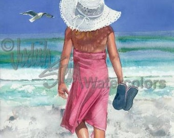 "Beach Girl, Pink Sun Dress, Sandals, White Hat Strolling on Seashore Children Watercolor Painting Print, Wall Art, Home Decor, ""Ocean Music"""