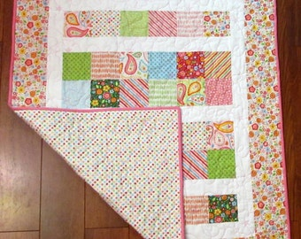 """Christmas SALE Riley Blake My Sunshine Pink, Green, Blue and Red Baby or Toddler Girl Quilt--40"""" x 48"""" with Matching Diaper Strap"""