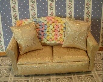 hand-crocheted dollhouse scale afghan, bright pastels false shells 129