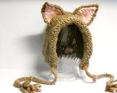 Kitty Hat, Knit Kitten Bonnet, Kitten Pixie Bonnet, Kitten Ears, 6 - 18 months, Alpaca, Halloween Costume, Eco-Friendly