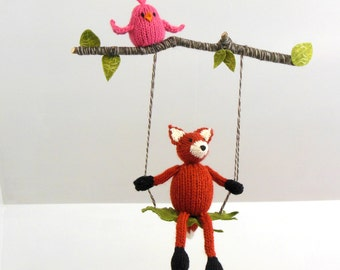 Baby mobile, fox mobile, fox nursery mobile, Bird Baby Mobile, Woodland Nursery, fox hanging mobile, Woodland mobile, knit fox branch mobile