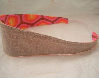 Fabric Reversible Headband, Pink Orange and Brown Headband