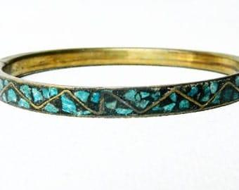 Vintage British India Turquoise Bangle Bracelet