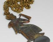 Vintage Figural Egyptian Pharoah Pendant Necklace