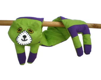 Neck Shoulder Microwave Heat Pack Cold Pack - Flat Cat Rice Heat Cold Pack Microwavable - Purple & Lime Green Stripes Cat
