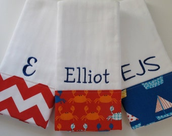 Personalized Monogrammed Baby Boy Burp Cloths