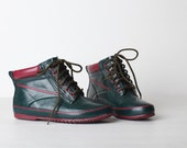 Vintage Size 6 Women's Green and Maroon Duck Boots