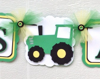 Tractor banner, tractor baby shower, baby shower banner, green and yellow decorations, photo prop, handmade banner, it's a boy banner,