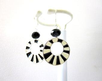 Black White Earrings 60s Mod Dangle Hoop Stripe Enameled