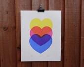ON SALE - 50% OFF Screen Print Three Hearts - bright bold print