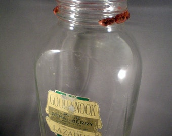 Vintage Art Deco Jar Good Nook Pure Strawberry Preserves Farmhouse Country Primitive