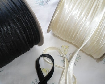 Cream or Black Satin Cordedge Piping Trim Lip Cord Edging Gimp Weddings Lamp Shades Crazy Quilts Pillows yardage choose yards