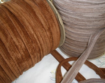 """Elephant Suede Cordedge Piping Lip Cord Trim 1/2"""" Edging Caramel or Dark Beige Mixed Media Lamp Shades Crazy Quilts Pillows Lip Cord yardage"""