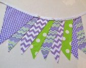 Banner Bunting in Limes and Grapes - Fun For Parties, Bedroom, Porch and Decor, Photo Shoots, etc