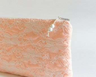 Lace Wedding Clutches, Pink Orange Clutch, Floral Lace Clutch, Bridesmaids set of 4, Bridesmaids Bags, Lace Purses