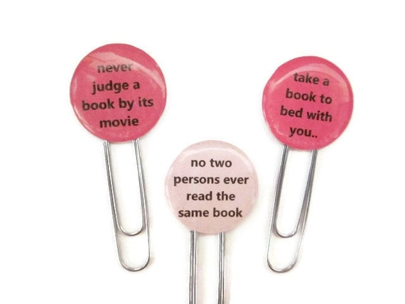 Paperclip Bookmark / Gift Tags - book to bed - Set of 3