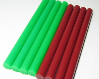 10pc hot glue sticks holiday red and green opaque for christmas crafting