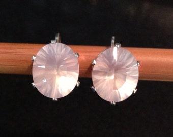 925 Sterling Rose Quartz Earrings