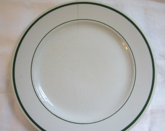 Buffalo China Plate Green Bands on White