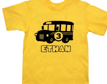 School Bus Personalized Birthday Shirt - any age and name - pick your colors!