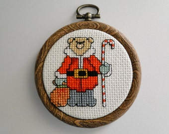 Santa Bear with Candy Cane Walking Stick Ornament