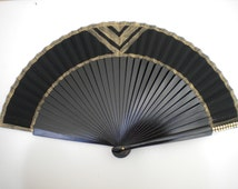 MTO Black Gold Hand Fan Art Deco Bling Gatsby Style Colors Hand Painted by Kate Dengra Spain