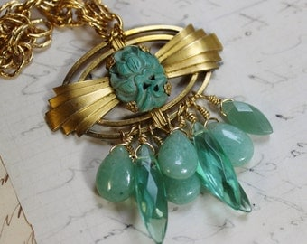 REDUCED PRICE- Carved Scarab Art Deco Vintage Assemblage Necklace- Jasper, Jade, Aventurine, Quartz, - Earrings INCLUDED- The Amulet