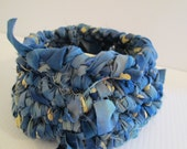 Hand Crochet Rag Basket Soft Side Storage Bin Crochet Container Blue Cream Denim Blue Recycled Upcycled Fabric