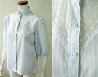 Vintage - 80s - Light Blue & Pink - Striped - Polka Dot - See Through - White Lace Yolk - Puffy Sleeve - Pearl Button Up - Collar - Shirt