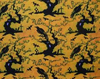 Halloween Fabric / Halloween Words / Scary Trees, Crows, Graveyards