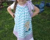 Frozen Elsa Dress, Pillowcase Dress, Aqua Chevron and Lavender, Snow Queen, Ice Princess, Disney Movie Inspired, Size 2T to 14