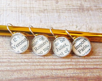 Shakespeare Stitch Marker Set Knitting Crochet Removable Romeo and Juliet Markers Literature Verona Leverback Asymmetrical Earrings