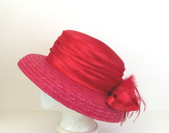 1980s red hat red satin hat womens red hat red straw hat 80s hat with