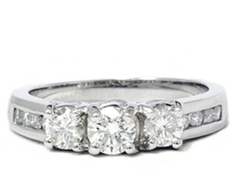 Diamond 1.00CT Three Stone Ring 14K White Gold