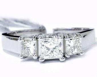 Diamond H/SI 1.00CT Princess Cut 3 Stone Engagement Anniversary Ring 14K