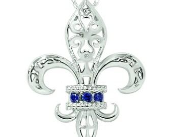 """Blue Sapphire .11CT Fleur De Lis Pendant 10K White Gold w/ 18"""" Chain"""