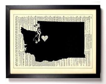 Washington State Map, Home, Kitchen, Nursery, Bath, Office Decor, Wedding Gift, Eco Friendly Book Art, Vintage Dictionary Print 8 x 10 in.