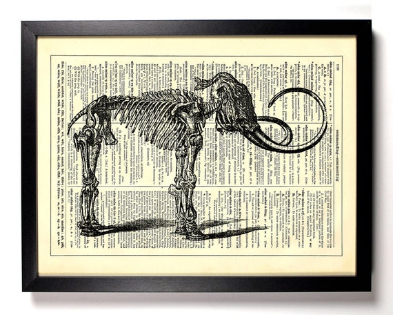 Elephant Skeleton, Home, Kitchen, Nursery, Bath, Office Decor, Wedding Gift, Eco Friendly Book Art, Vintage Dictionary Print 8 x 10 in.