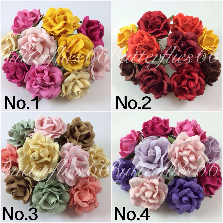 50 Handmade Mulberry Paper Flowers Large Wedding Roses