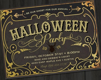 Antique Vintage Circus Halloween PRINTABLE Party Invitation, Halloween Party Invites, Costume Party Invitations, Circus Party Invites