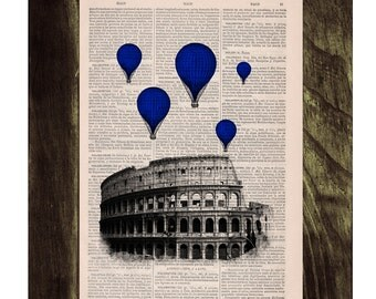 Blue balloons over Rome .Vintage Book Print - Rome Colosseum Balloon Ride Print on Vintage Book art TVH037