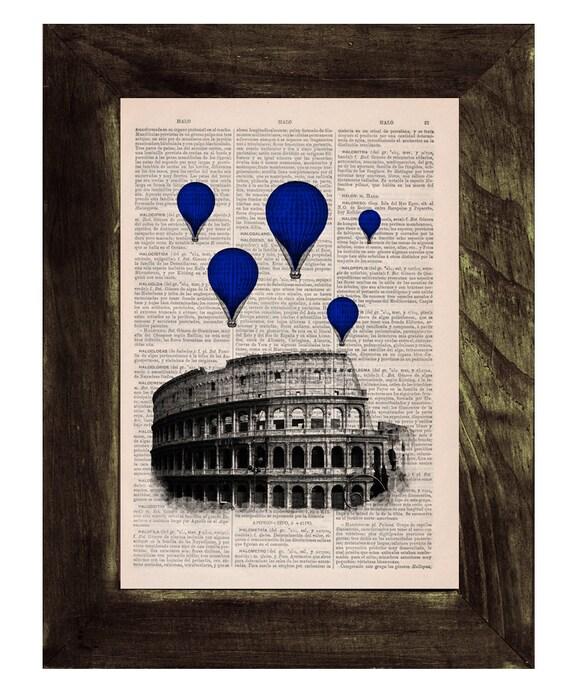 Christmas Sale Blue balloons over Rome .Vintage Book Print - Rome Colosseum Balloon Ride Print on Vintage Book art TVH037
