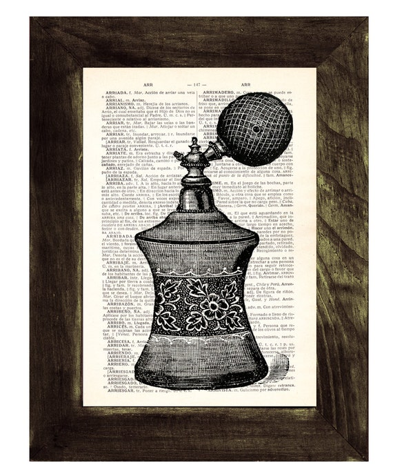 Spring Sale Upcycled Art Print on Dictionary page book art print Perfume bottle III BPTV069