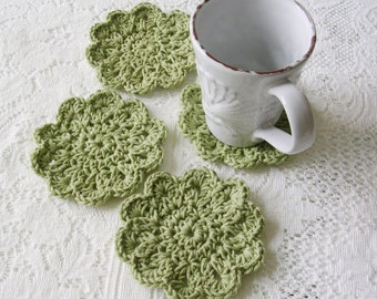 Green Crochet Coasters - Drink Coasters -  Greenery Doily Coaster Set - Handmade Coasters - Cottage Style Decor - Rustic Decor
