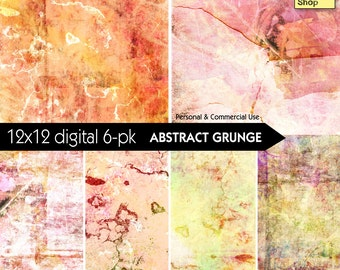 Grunge Backgrounds - Abstract - Warm Hues - Digital Paper Pack - INSTANT DOWNLOAD - for Scrapbooking, Journaling, Decoupage, Collage, Crafts