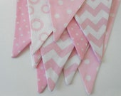 Pink and White Fabric Banner/ Baby Shower Decoration/ Photo Prop / Fabric Bunting in Chevron and Polka Dots