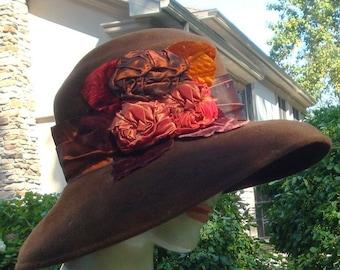 SALE TREASURY ITEM Glorious Antique Reproduction Wool Felt Hat With Amazing Ribbonwork 1920s/30s